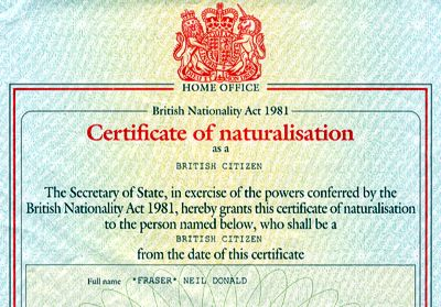 [Certificate of naturalisation as a British Citizen]