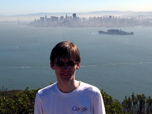 [San Francisco and Alcatraz seen from the top of Angel Island.]