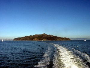 [Looking back at Angel Island from the ferry.]