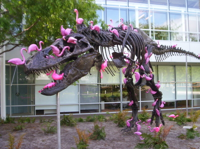 [Stan the T-Rex vs 100 plastic flamingos]