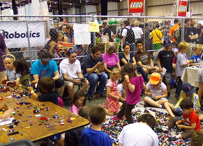 [Children playing with Lego.]