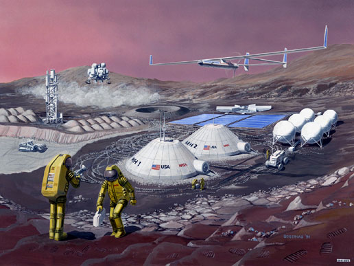 [Painting of future NASA Mars base]