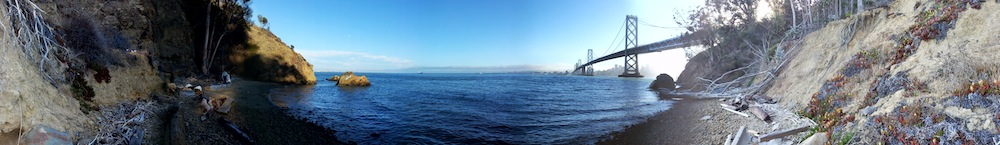 [Panorama of beach on Yerba Buena Island]